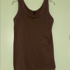 Bedazzled Brown Ann Taylor Tank